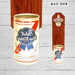 Wall Mounted Bottle Opener with Vintage Pabst Blue Ribbon Be