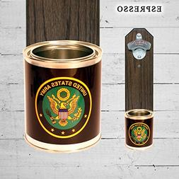 Wall Mounted Bottle Opener with US Army Tin Can Can Cap Catc