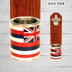 Wall Mounted Bottle Opener with Hawaii State Flag Tin Can Ca