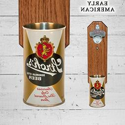 Wall Mounted Stroh Bottle Opener with Vintage Stroh's Beer C