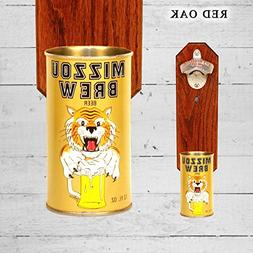 Wall Mounted Bottle Opener with Vintage Mizzou Beer Can Cap