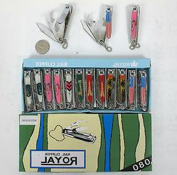 """LOT OF 12,24-""""Mixed Design"""" 3 Way Nail Clippers cutter,Kife,"""