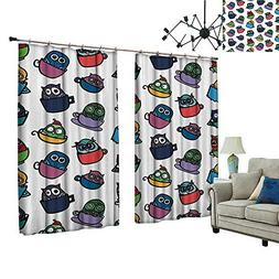 PRUNUS Window Curtain Drape with Hook Funny Owl in Coffee Te